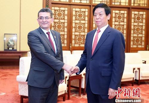 5月27日,全国人大常委会委员长栗战书在北京人民大会堂会见塞尔维亚国民议会副议长阿尔西奇。中新社记者 宋吉河 摄