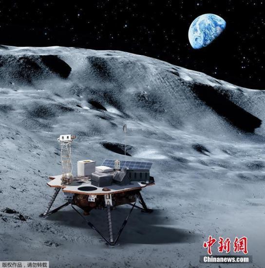 资料图:6月1日消息,美国航天局5月31日宣布已挑选出3家商业公司制造的月球着陆器,它们未来3年内将把美航天局的科学和技术载荷运送至月球表面,为2024年美国宇航员再次登月铺路。图为美国航天局提供的商业着陆器在月球上的效果图。文字来源:新华网