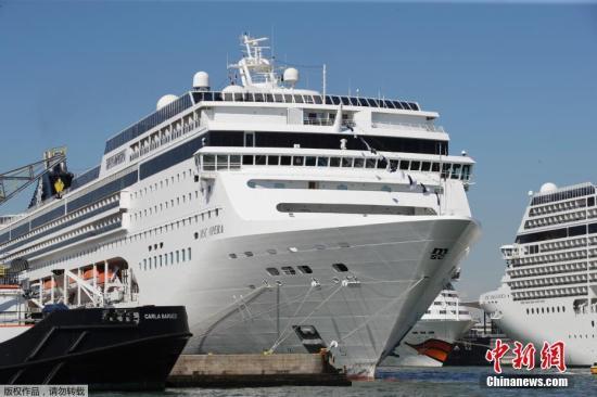 """资料图:地中海邮轮公司旗下的""""歌剧""""号,船身高54米、长275米,可搭载超过2600名乘客。"""