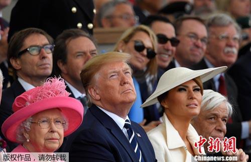 資料圖:當地時間6月5日,美國總統特朗普與英國女王伊麗莎白二世共同出席諾曼底登陸75周年紀念。