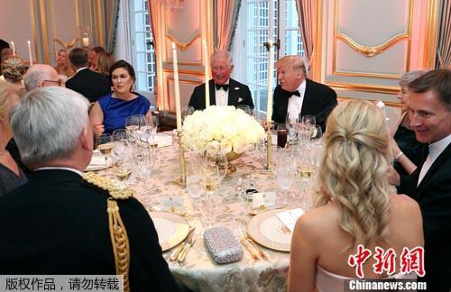 資料圖:6月4日晚,美國總統特朗普與查爾斯王儲一起共進晚宴。