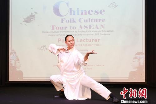 6月17日,由30名专家、学者、艺术家、非物质文化遗产传承人组成的中国民俗文化代表团,走进位于印尼首都雅加达的伦敦公共关系学院,与该院师生进行了一场中印尼两国民间民俗文化的亲密互动和交流。图为太极拳表演。<a target='_blank' href='http://www.chinanews.com/'>中新社</a>记者 林永传 摄