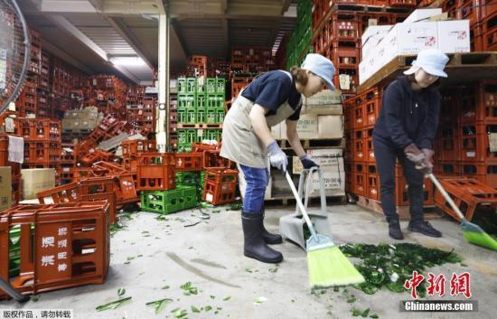 當地時間6月19日,日本山形縣,清酒廠裏的酒瓶碎了一地。報道稱,山形縣近海當地時間18日晚上10點22分左右發生地震。震源深度約14公裏,地震震級被推定爲裏氏6.7級。