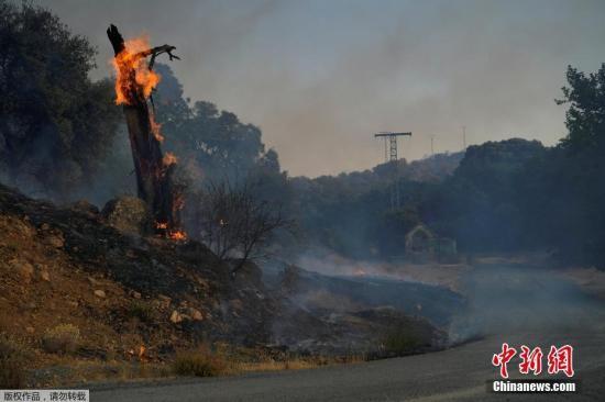 当地时间2019年6月28日,西班牙高温引发山火,直升机出动灭火。