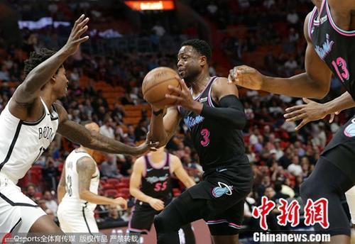 资料图为2018年11月21日,2018-2019赛季NBA常规赛:迈阿密热火92:104负布鲁克林篮网。图片来源:Osports全体育图片社