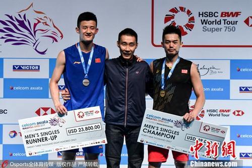2019年马来西亚羽毛球公开赛男单决赛:林丹2:1胜谌龙。图片来源:Osports全体育图片社