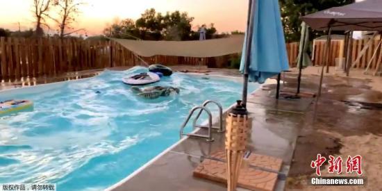 图为加州一户住所内的泳池在地震中形成小波浪。