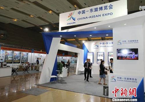 资料图:7月11日,2019中国—东盟博览会印尼展在雅加达国际会展中心开展。图为展会现场。中新社记者 林永传 摄
