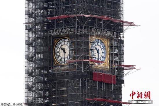 图为修葺中的大本钟