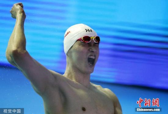 这是孙杨收获的第十枚世锦赛金。图片来源:视觉中国