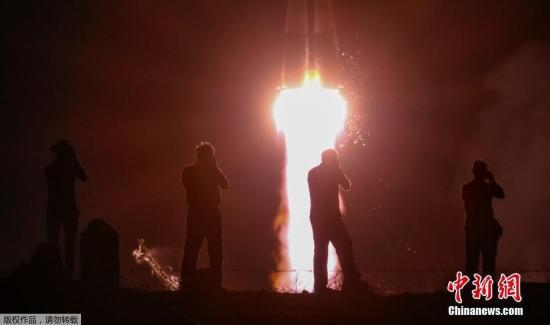"""当地时间2019年7月20日,哈萨克斯坦拜科努尔发射场,俄""""联盟MS-13""""号飞船发射升空。"""