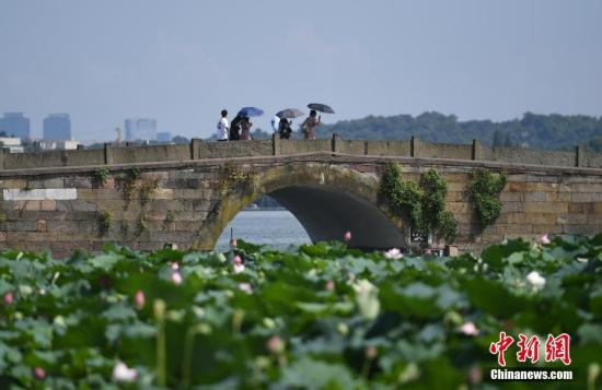 资料图:7月30日,浙江杭州游客撑伞在西湖游览。/p中新社记者 王刚 摄