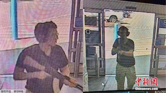 当地时间8月3日,美国得克萨斯州埃尔帕索发生大规模枪击案,枪手在一家购物中心开枪,截至目前造成至少20人死亡,26人受伤,1名21岁的白人男子已被拘留。图为嫌犯监控录像曝光。(视频截图)
