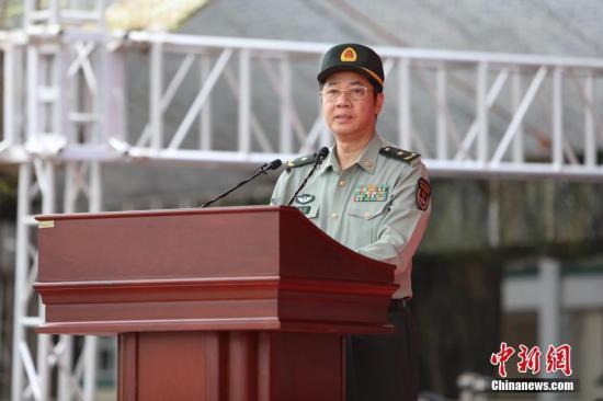 中国人民解放军驻香港部队政治委员蔡永中少将致辞。/p中新社记者 谢光磊 摄