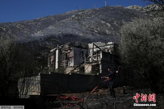 资料图:当地时间2019年8月12日,希腊雅典,Hymettus山突发山火,不少房屋被烧毁,树木被烧焦。
