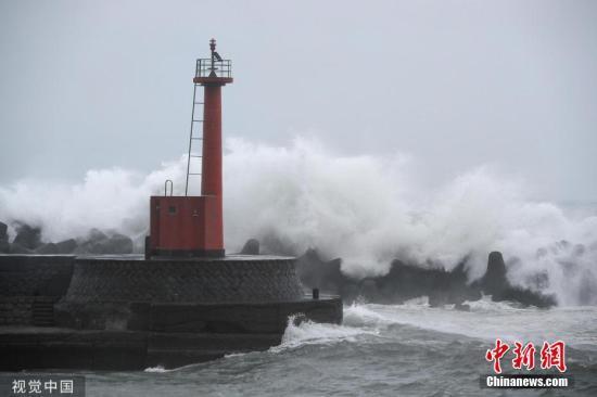 """当地时间2019年8月14日,台风""""罗莎""""逼近日本,日本高知县当地海岸附近掀起巨浪。图片来源:视觉中国"""