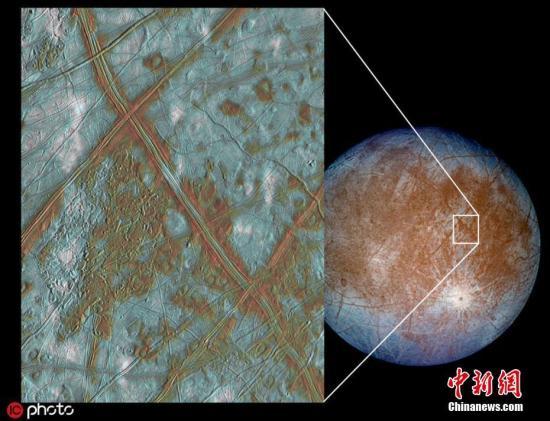 """资料图:NASA计划在2025年左右发射探测器,""""欧罗巴快帆""""计划多次飞掠木星的冰月,以探测星球上是否有生命所需的化学成分。图片来源:ICphoto"""