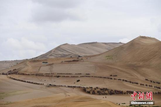 资料图:游客骑骆驼在敦煌鸣沙山月牙泉景区游览。 中新社记者 杨艳敏 摄