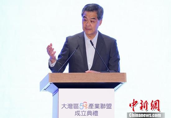 8月21日,粤港澳大湾区5G产业联盟在香港科学园正式成立。图为全国政协副主席梁振英在成立典礼上致辞。<a target='_blank' href='http://www.chinanews.com/'>中新社</a>记者 张炜 摄