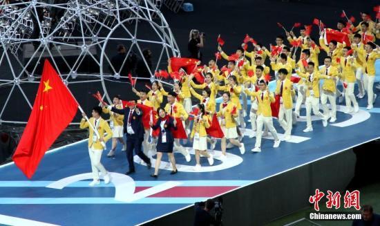 当地时间8月22日,第45届世界技能大赛在喀山开幕,中国代表队入场。<a target='_blank' href='http://www.chinanews.com/'>中新社</a>记者 王修君 摄