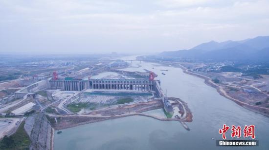 资料图:航拍广西大藤峡水利枢纽工程。中新社记者 陈冠言 摄