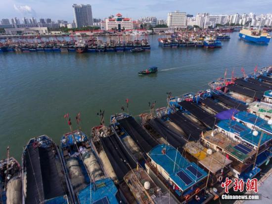 资料图为航拍海口新港码头众多船只回港避风。中新社记者 骆云飞 摄