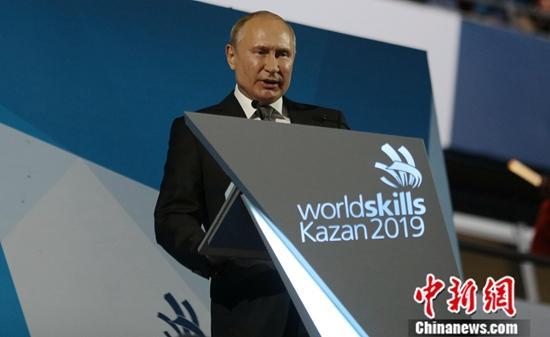 材料图:俄罗斯总统普。 a target='_blank' href='http://www.chinanews.com/'种孤社/a记者 王建君 摄