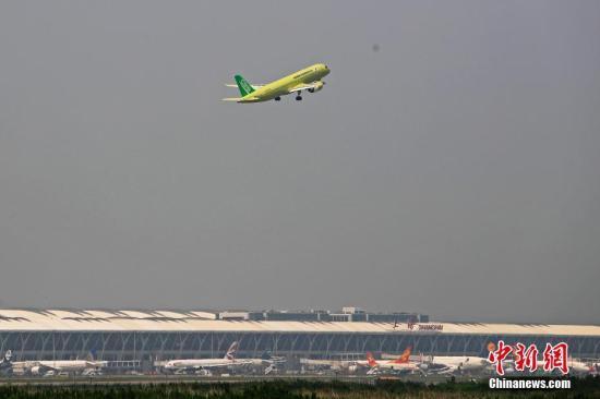 材料图:中国商飞C919年夜型客机。殷坐勤 摄