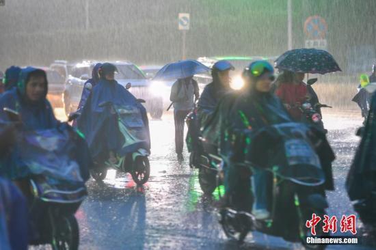 原料图为民多冒雨出走。中新社记者 骆云飞 摄