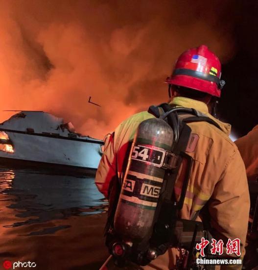 当地时间2019年9月2日,美国加州圣克鲁斯岛北部海域一艘潜水支援船当地时间2日凌晨起火,船身很快被大火吞噬,沉入水中。事发时,正值乘客深夜熟睡时间。最新消息称,目前已经寻获8具遗体,20多名乘客下落不明。另有5人跳船获救。救援人员称做好了最坏的准备。 图片来源:ICphoto
