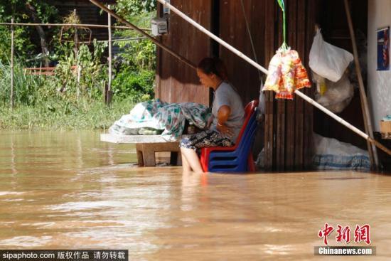 """近日,热带风暴""""杨柳""""横扫泰国北部和东北地区,导致16府传出洪水灾情。截至9月3日,风暴""""杨柳""""已导致6人死亡。图片来源:Sipaphoto 版权作品 禁止转载"""