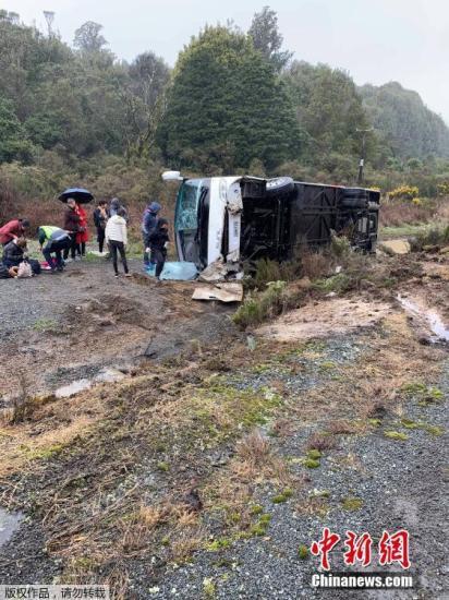 据中媒9月4日报导,新西兰北岛罗托鲁瓦四周的5号下速公路,一辆载有中国旅客的年夜巴发作交通变乱,该变乱今朝已形成包罗中国旅客正在内的6人灭亡。图为变乱现场。