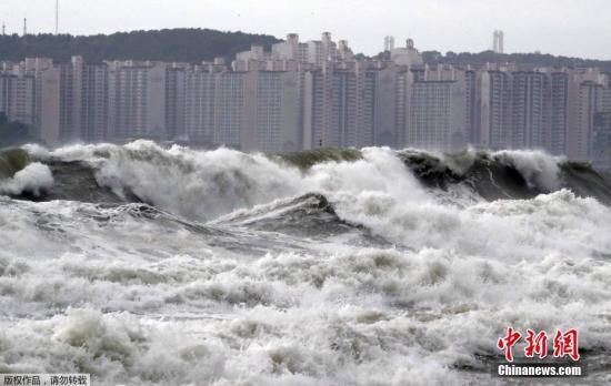 """9月8日动静,台风""""玲玲""""7日吹袭韩国,釜山海云台巨浪滔天。形成起码3人灭亡,数万户断电。"""