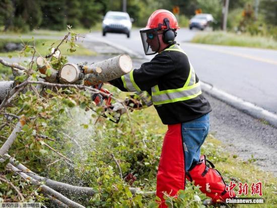"""本地工夫2019年9月8日,减拿年夜新斯科舍,据""""中心社""""报导,7日,""""多里安""""打击减拿年夜年夜西洋沿岸地域,吹倒树木、形成逾37万人无电可用,新斯科舍省尾府哈利法克斯(Halifax)郊区一个修建起重机也被吹翻。减拿年夜飓风中间暗示,""""多里安""""今朝是激烈后寒带风暴,以每小时150千米风速经由过程哈利法克斯。法新社引述本地民员道法暗示,""""多里安""""已正在诺省带去100毫米雨量,8日雨量恐翻倍。"""