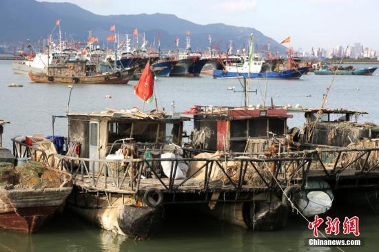 9月21日,连云港市连云区西连岛村渔业船埠,很多渔船靠泊港湾躲避台风。 /p阳光在线官网发 王春 摄 图片来历:Cnsphoto