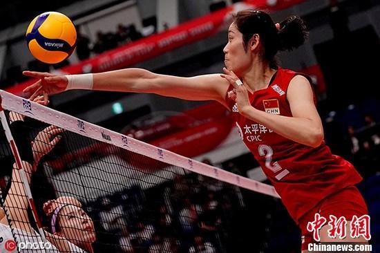 资料图:当地时间2019年9月14日,日本横滨,2019女排世界杯第一阶段首轮,中国3-0韩国。图为朱婷在比赛中。图片来源:ICphoto