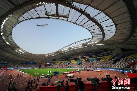 图为位于卡塔尔首都多哈的哈里发体育场,第19届田径世锦赛在这里落幕。 泱波 摄