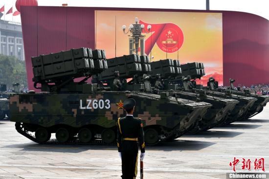 10月1日上午,庆祝中华人民共和国成立70周年大会在北京天安门广场隆重举行。图为受阅的反坦克导弹方队。<a target='_blank' href='http://www.chinanews.com/'>中新社</a>记者 王东明 摄