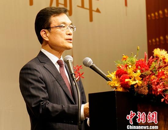9月30日晚,中国驻韩国大使馆在首尔举行招待会,庆祝中华人民共和国成立70周年。图为韩国外交部第一次官赵世暎致辞。中新社记者 曾鼐 摄