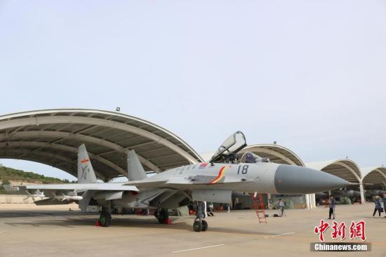 图为9月19日拍摄的歼-15战役机。a target='_blank' href='http://www.chinanews.com/'中新社/a记者 郭超凯 摄