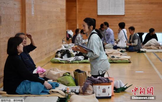 資料圖:日本民眾在避難所避難。