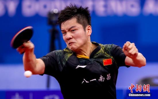 10月21日晚,第七届世界军人运动会乒乓球男子团体决赛在湖北省武汉市举行,中国队以3比1战胜朝鲜队获得乒乓球男子团体冠军。图为中国队樊振东在比赛中。中新社记者 张畅 摄