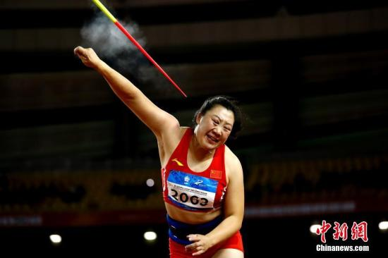 10月25日,第七届世界军人运动会田径比赛在武汉五环体育中心举行。在女子标枪决赛中,中国选手张莉以63.06米夺冠。<a target='_blank' href='http://www.chinanews.com/'>中新社</a>记者 富田 摄