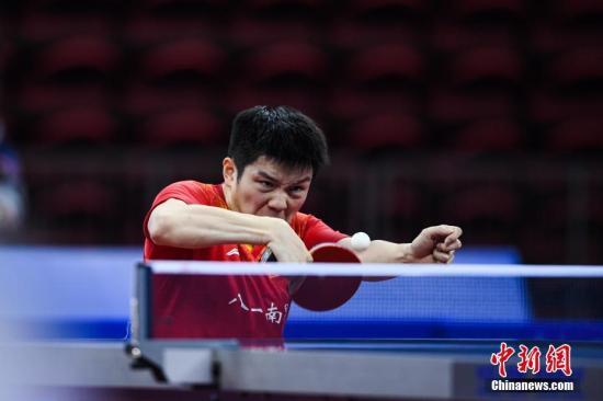 图【为】樊振东【在】比赛【中】。 【中】新社记者 何蓬磊 摄