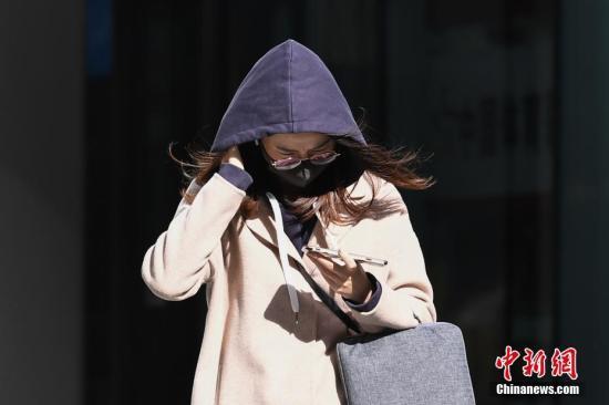 资料图:民众在风中行走。中新社记者 崔楠 摄