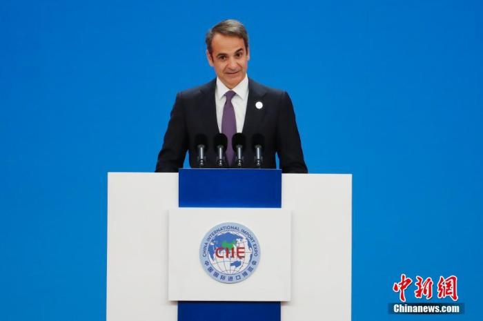 图为希腊总理米佐塔基斯致辞。中新社记者 殷立勤 摄