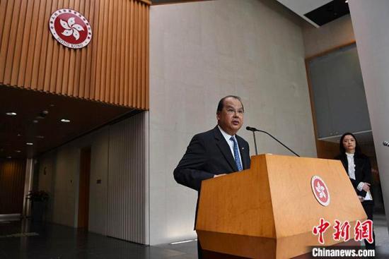 资料图:香港特区政务司司长张建宗。/p中新社记者 麦尚旻 摄