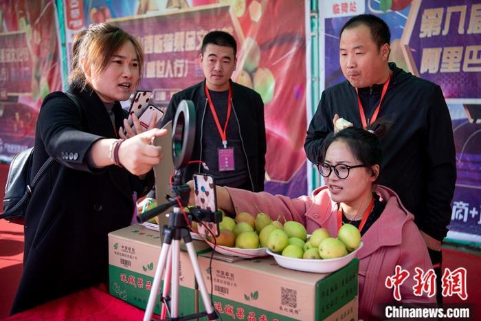 资料图:果农使用手机进行直播促销农产品。/p中新社记者 韦亮 摄