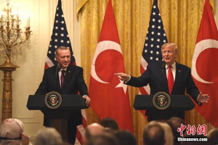 2019年11月13日,美国总统特朗普与土耳其总统埃尔多安在白宫会晤。