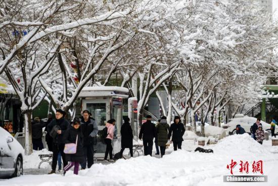 资料图:受冷空气影响,乌鲁木齐15至16日迎来降雪天气。中新社记者 刘新 摄
